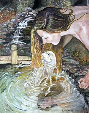 Koi Painting entitled The Kiss by Edward Champigny